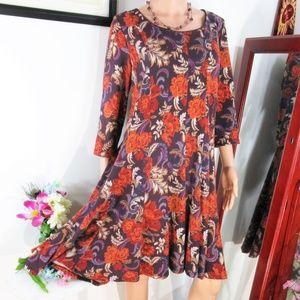 NWT Chetta B.  Floral Boho A-Line Swing Dress